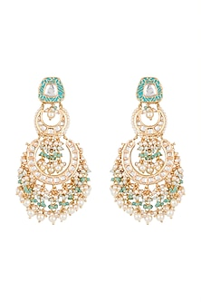 Gold Finish Blue Meenakari Jadtar Chandbali Earrings by Just Jewellery