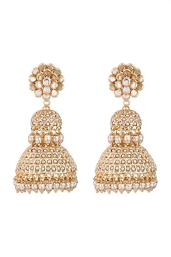 Gold Finish Pacchi Jadtar Semi-Precious Moti Jhumka Earrings by Just Jewellery