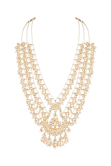 Gold Finish Big Chand Jadtar Pendant Necklace by Just Jewellery