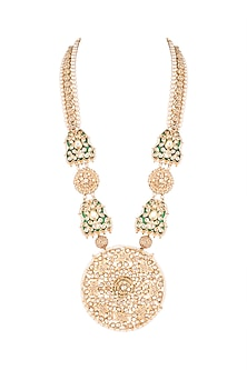 Gold Finish Pacchi Jadtar Pendant Necklace by Just Jewellery