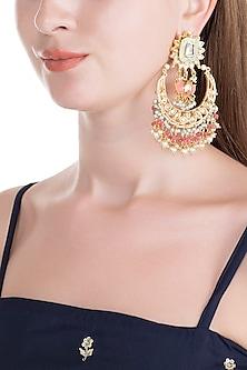 Gold Finish Green Meenakari Jadtar Chandbali Earrings by Just Jewellery