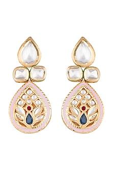Gold Finish Polki Jadtar Pink Meenakari Earrings by Just Jewellery