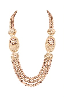 Gold Finish Meenakari Jadtar Semi-Precious Moti Kantha Necklace by Just Jewellery