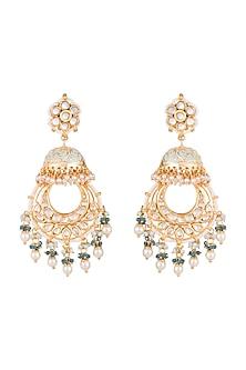 Gold Finish Blue Meenakari Jadtar Jhumka Style Chandbali Earrings by Just Jewellery