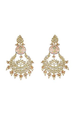 Gold Finish Meenakari Chandbali Earrings by Just Jewellery