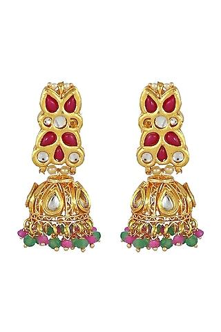 Gold Finish Kundan Polki Jhumka Earrings by Just Jewellery