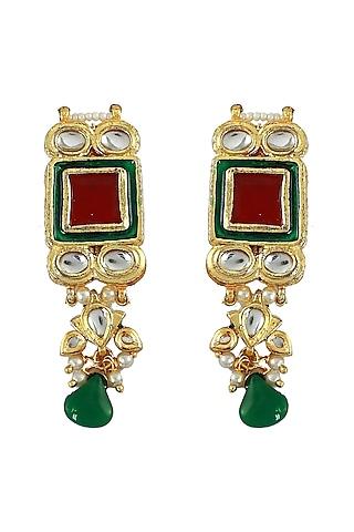 Gold Finish Red Stone & Kundan Polki Earrings by Just Jewellery
