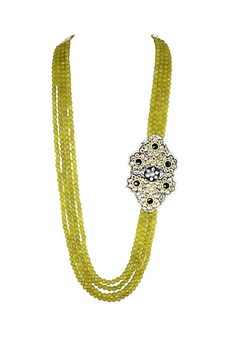 Gold Finish Black Meenakari Necklace by Just Jewellery