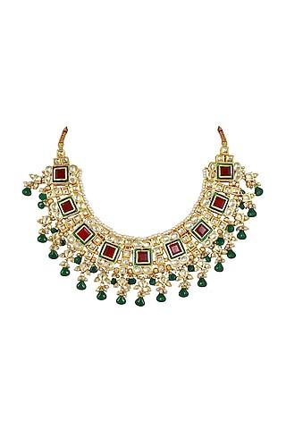Gold Finish Kundan Polki Choker Necklace by Just Jewellery