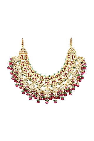 Gold Finish Red Stone & Kundan Polki Necklace by Just Jewellery