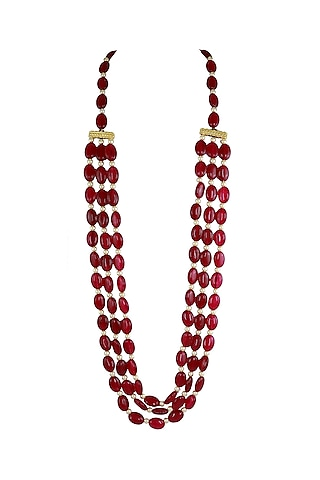 Gold Finish Red Beaded Mala Necklace by Just Jewellery
