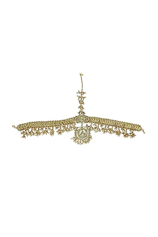Gold Finish Kundan Polki Mathapatti by Just Jewellery
