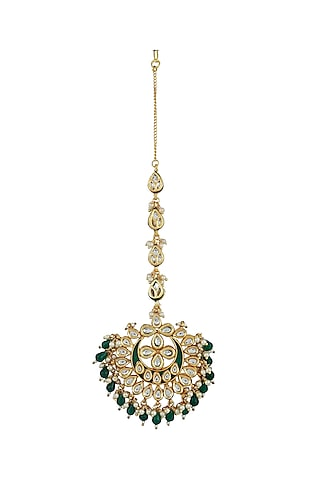 Gold Finish Green Meenakari Maang Tikka by Just Jewellery