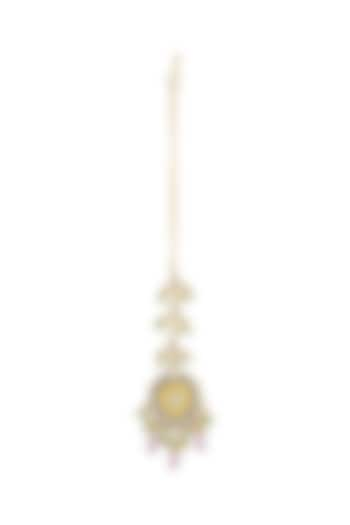 Gold Finish Pink Drop Maang Tikka by Just Jewellery