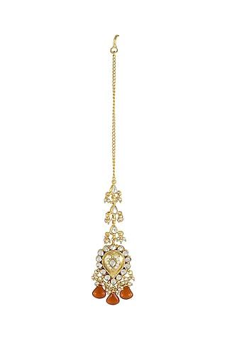 Gold Finish Orange Drop Maang Tikka by Just Jewellery