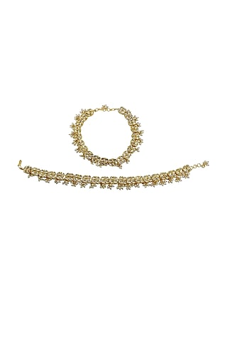 Gold Finish Kundan Polki Anklets by Just Jewellery