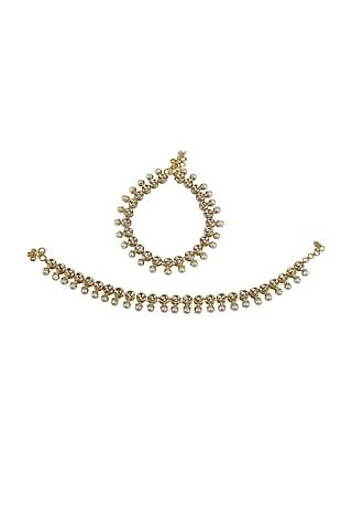 Gold Finish Kundan Polki & Moti Anklets by Just Jewellery