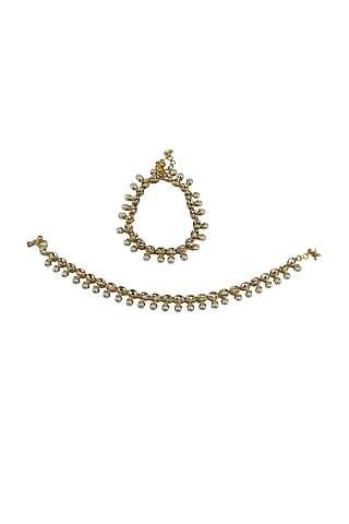 Gold Finish Moti & Kundan Polki Anklets by Just Jewellery