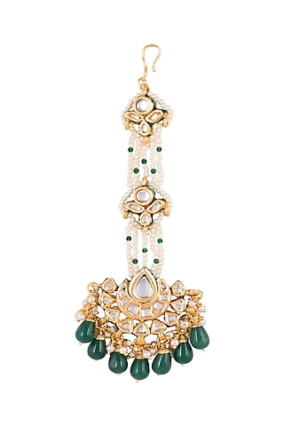 Gold Finish Chand Maang Tikka by Just Jewellery