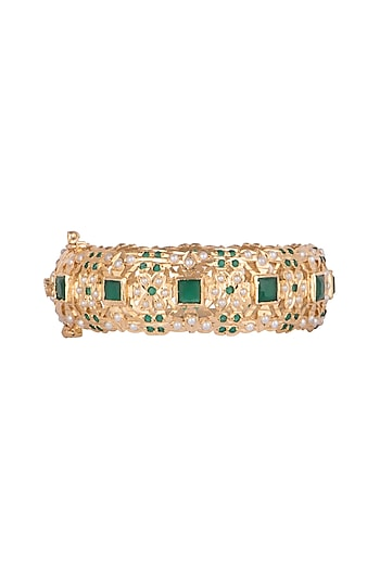 Gold Finish Green Stone Bangles by Just Jewellery