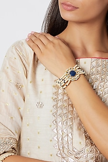 Gold Finish Beads & Pearl Bracelet by Just Jewellery