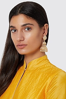 Gold Finish Stones Layered Earrings by Just Jewellery