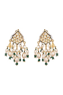 Gold Finish Pearl Drop Earrings by Just Jewellery