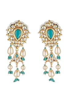 Gold Finish Turquoise Stone Earrings by Just Jewellery