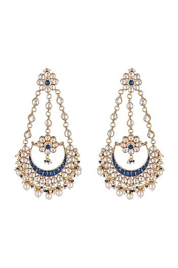 Gold Finish Blue Stone Chandbali Earrings by Just Jewellery