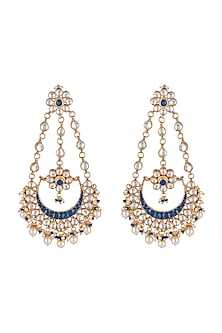 Gold Finish Blue Stone Chandbali Earrings by Just Jewellery