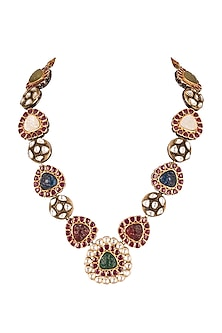 Gold Finish Navratna Stone Necklace by Just Jewellery