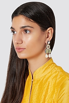 Gold Finish Green Stone Earrings by Just Jewellery