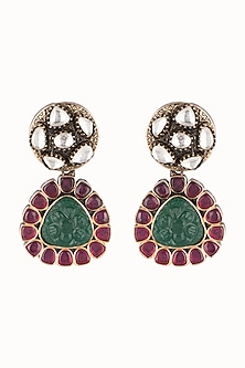 Gold Finish Green & Red Stone Earrings by Just Jewellery