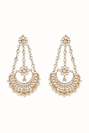 Gold Finish Kundan Chandbali Earrings by Just Jewellery