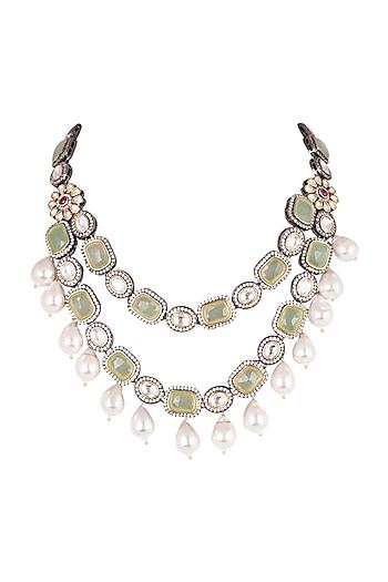 Gold Finish Kundan & Polki Layered Necklace by Just Jewellery