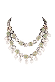 Gold Finish Kundan & Polki Layered Necklace by Just Jewellery