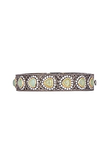 Gold Finish Diamond & Beaded Bangle by Just Jewellery