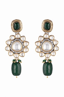 Gold Finish Green Stone & Drop Earrings by Just Jewellery