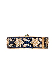 Gold Finish Blue Meenakari Bangle by Just Jewellery