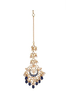 Gold Finish Blue Drop Maang Tikka by Just Jewellery