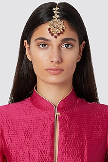 Gold Finish Red Drop Maang Tikka by Just Jewellery