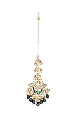 Gold Finish Green Drop Maang Tikka by Just Jewellery