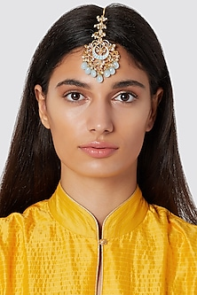 Gold Finish Light Blue Drop Maang Tikka by Just Jewellery
