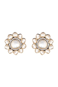Gold Finish Polki & Beaded Stud Earrings by Just Jewellery