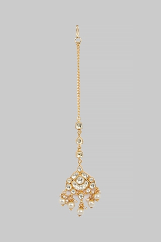 Gold Plated Pearl Maang Tikka by Just Jewellery