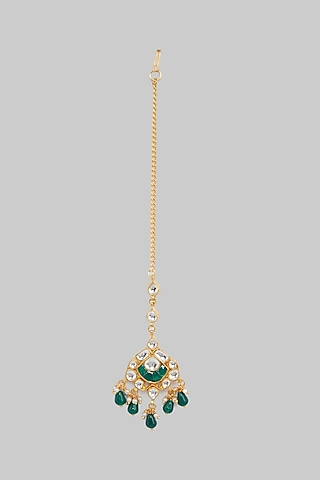 Gold Plated Emerald Maang Tikka by Just Jewellery