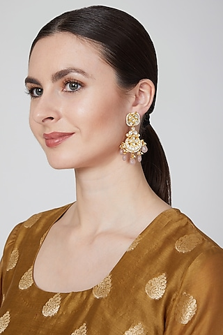 Gold Plated Pink Quartz Earrings by Just Jewellery