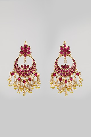 Gold Plated Rani Pink Stone Earrings by Just Jewellery