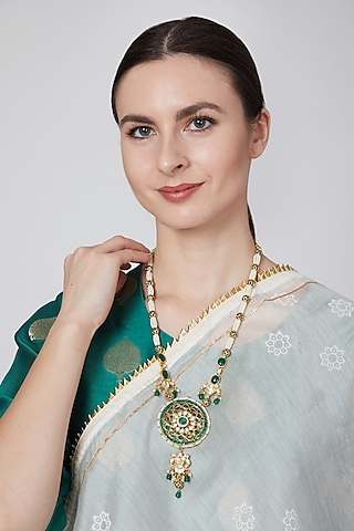 Gold Plated Emerald Pendant Necklace by Just Jewellery