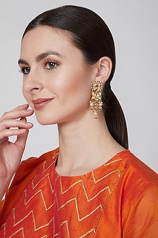 Gold Finish Pearl Earrings by Just Jewellery